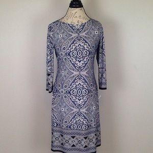 London times blue paisley print sheath dress-sz 6